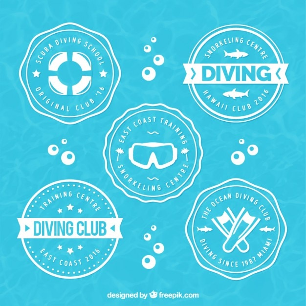 Rounded diving badges Premium Vector
