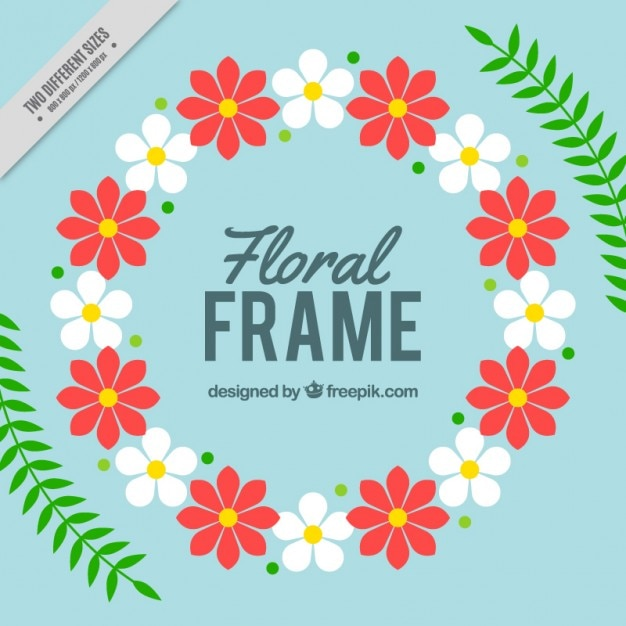 Rounded floral frame with leaves Free Vector