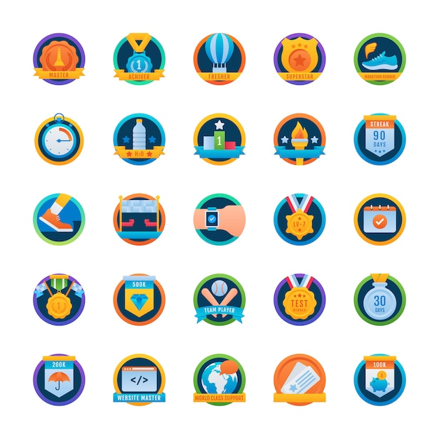 Rounded icons pack Premium Vector