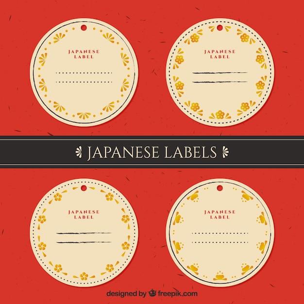 Rounded japanese labels with golden floral details Free Vector