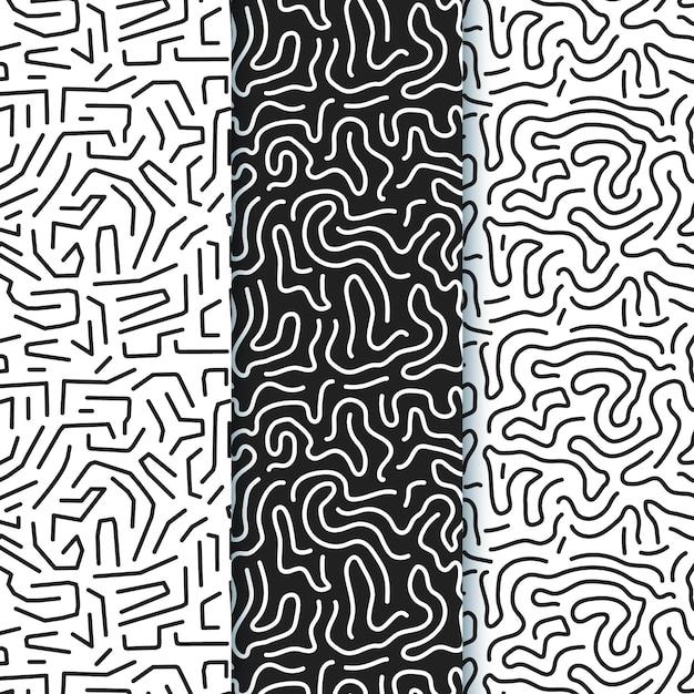 丸みを帯びたラインパターンコレクション 無料ベクター