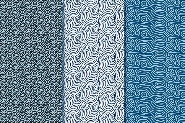 Linee arrotondate senza cuciture blu toni del modello Vettore gratuito