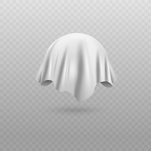 Округлый объект или сфера, покрытая белой шелковой тканью или занавес, реалистичная иллюстрация на белом фоне. удивительное покрытие для презентации. Premium векторы