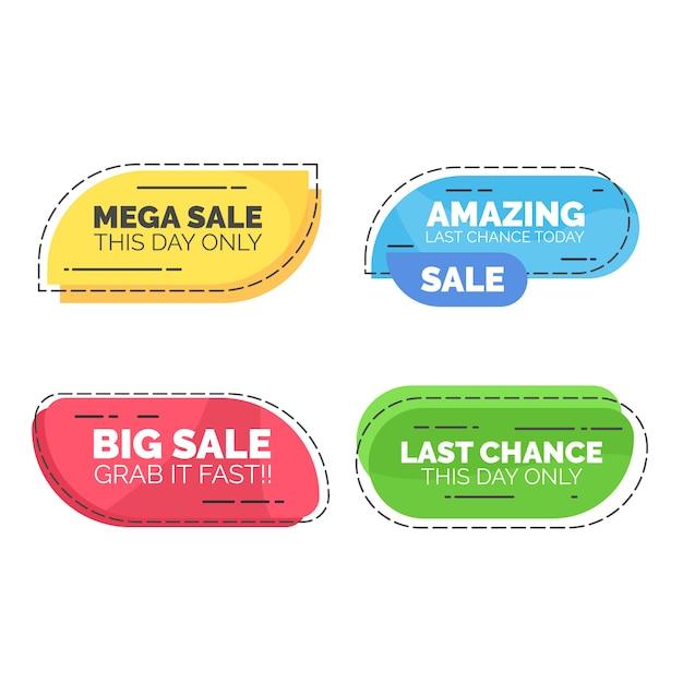 Rounded sale text web element badge Premium Vector