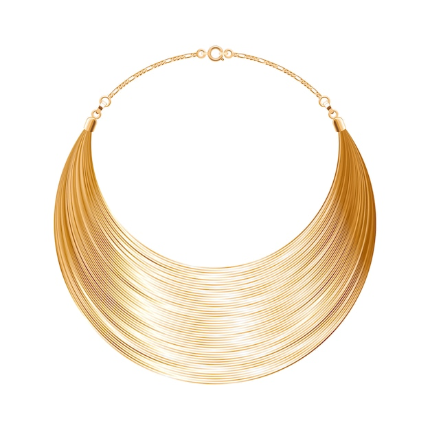 Rounded simple golden metallic necklace or bracelet. personal fashion accessory .  illustration. Premium Vector