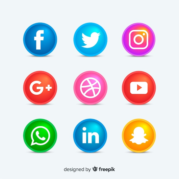 Rounded social media icons buttons Free Vector