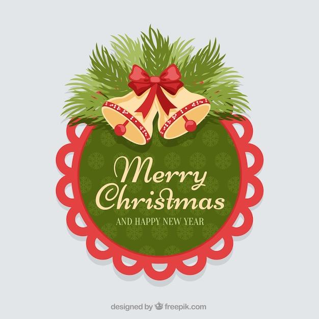 빨간색 테두리가있는 둥근 된 Stiker 크리스마스 종소리 프리미엄 벡터