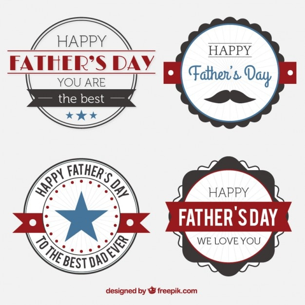 Rounded vintage father\'s day labels