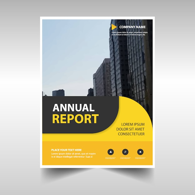 Rounded Yellow Abstract Corporate Annual Report Template Vector