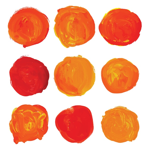 Roundes orange paint staints Free Vector