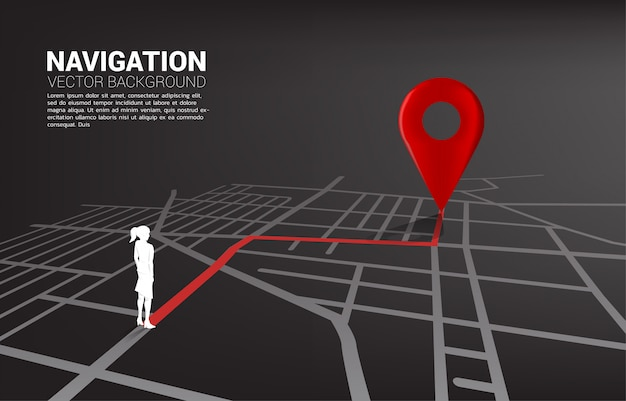 Route between 3d location pin markers and businesswoman on city road map. Premium Vector