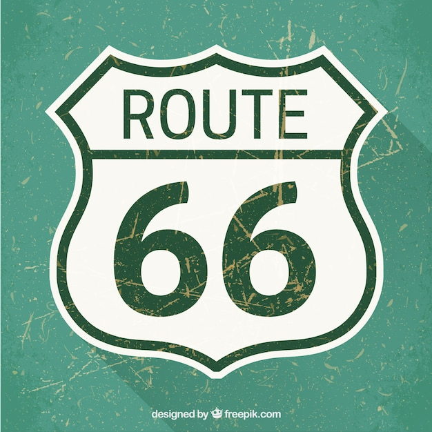Route 66 road sign Free Vector