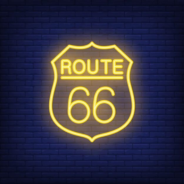 Route sixty six badge. neon style on brick background. usa banner. Free Vector