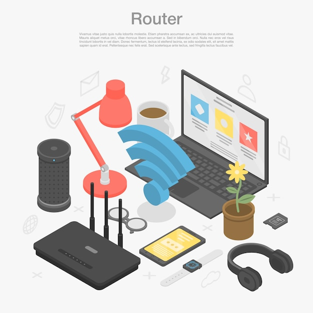 Router modem concept background, isometric style Premium Vector