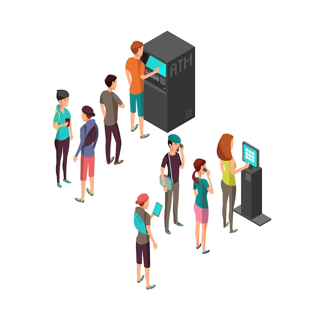Row of waiting people at atm payment machine and terminal. Premium Vector