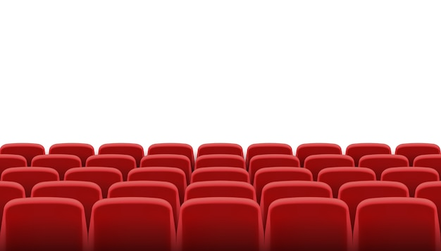 Rows of red cinema or theater seats Premium Vector