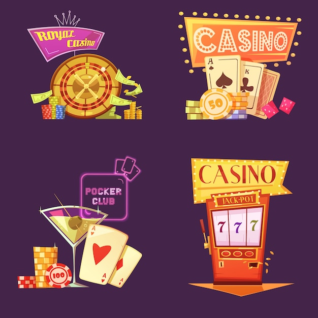 Royal casino retro cartoon card set Free Vector