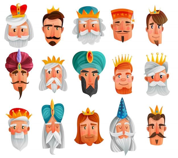 Royal characters cartoon set Free Vector