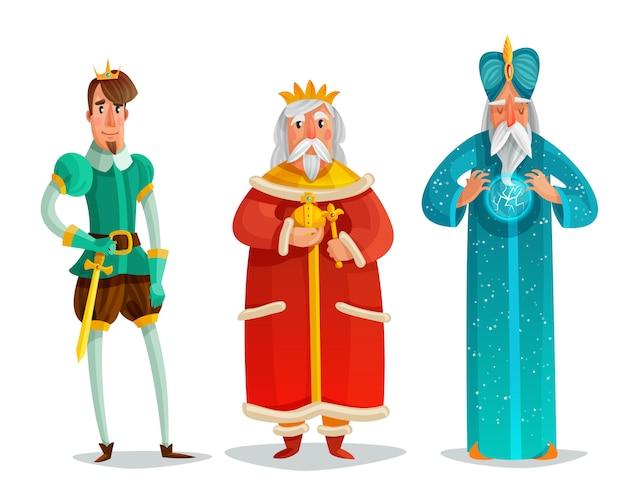 Royal characters cartoon set Free Vector