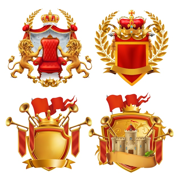 王室の紋章。王と王国。 Premiumベクター