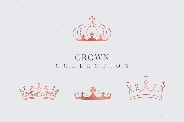 Royal crown collection Free Vector