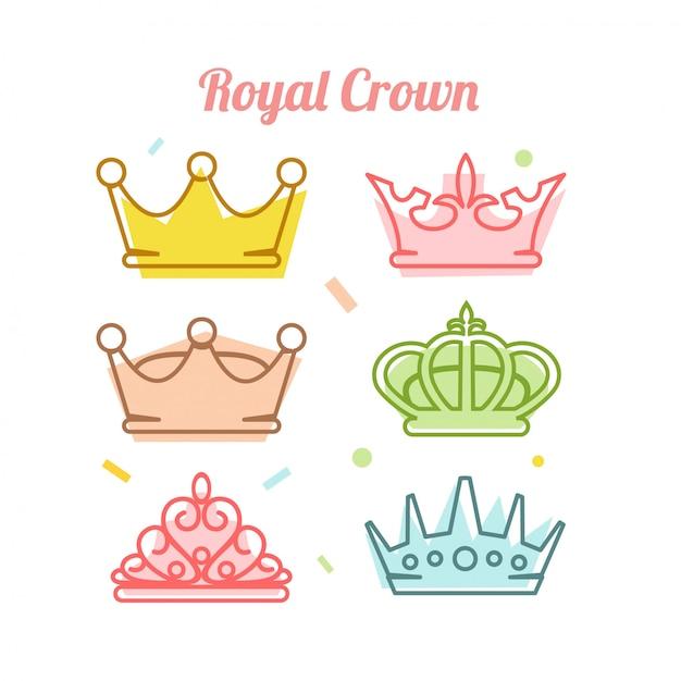 Royal crown icon set vector illustration Premium Vector