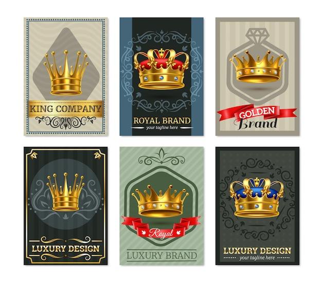 Royal crown realistic bannesr set Free Vector