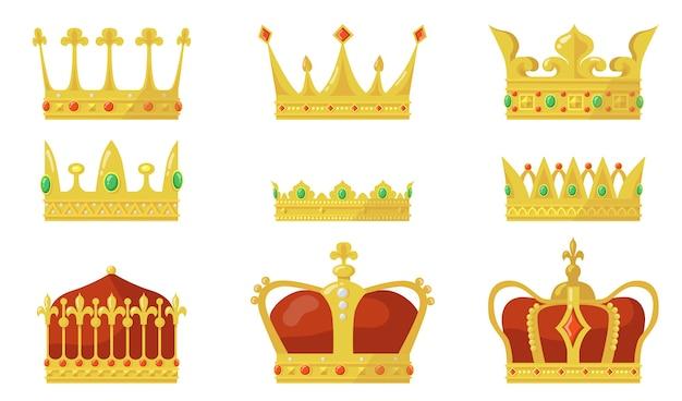 ロイヤルクラウンセット。王または女王の権威のシンボル、王子と王女の金の宝石。 無料ベクター