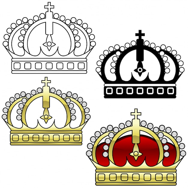 Royal crown set Premium Vector