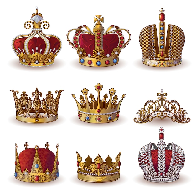 Royal crowns collection Free Vector