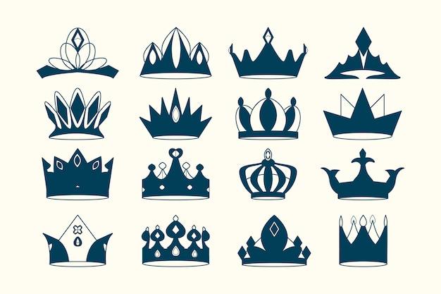Royal crowns set Free Vector