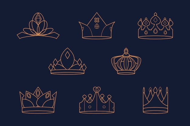 Royal crowns set Free Vector