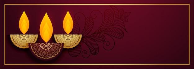 Royal diya  for happy diwali festival banner Free Vector