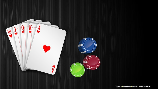 Royal flush cards with colorful poker chips Premium Vector
