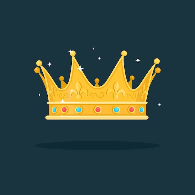 Royal gold crown for queen, princess, king  on dark background. awards for winner, champions, leadership concept. Premium Vector
