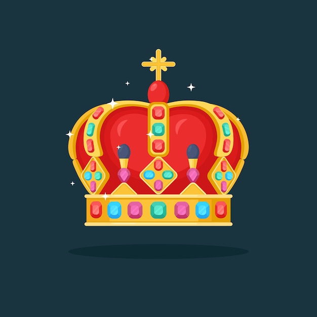 Royal gold crown for queen, princess, king isolated. awards for winner, champions, leadership concept. Premium Vector
