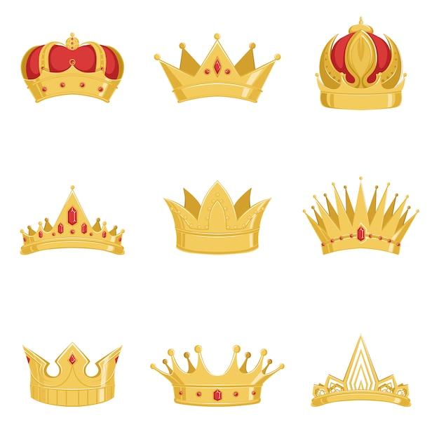 ロイヤルゴールデンクラウンセット、白い背景の上の王と女王のイラストの力のシンボル Premiumベクター