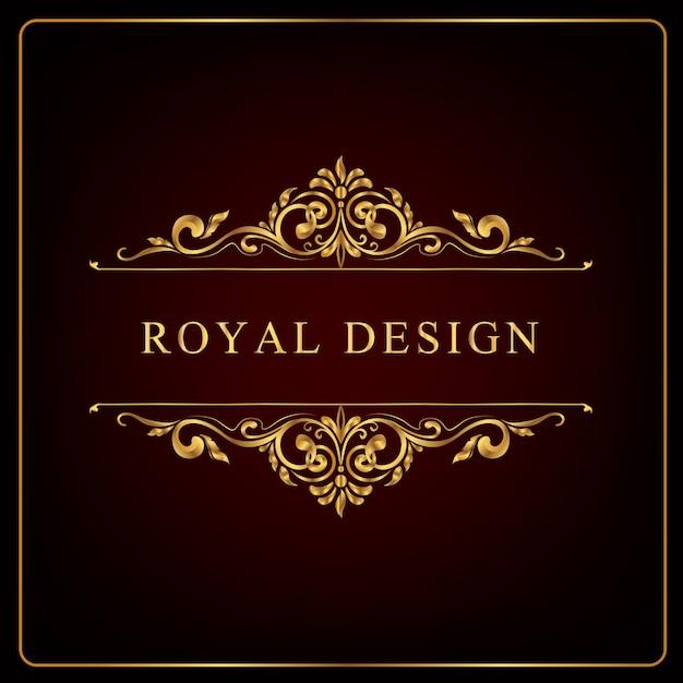 Королевская золотая цветочная рамка, завитки королевского орнамента и винтаж Premium векторы