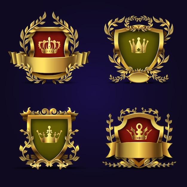 Royal heraldic vector emblems in victorian style Premium Vector