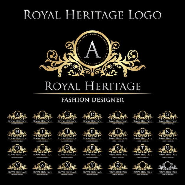 Royal heritage logo icon with alphabet set Premium Vector