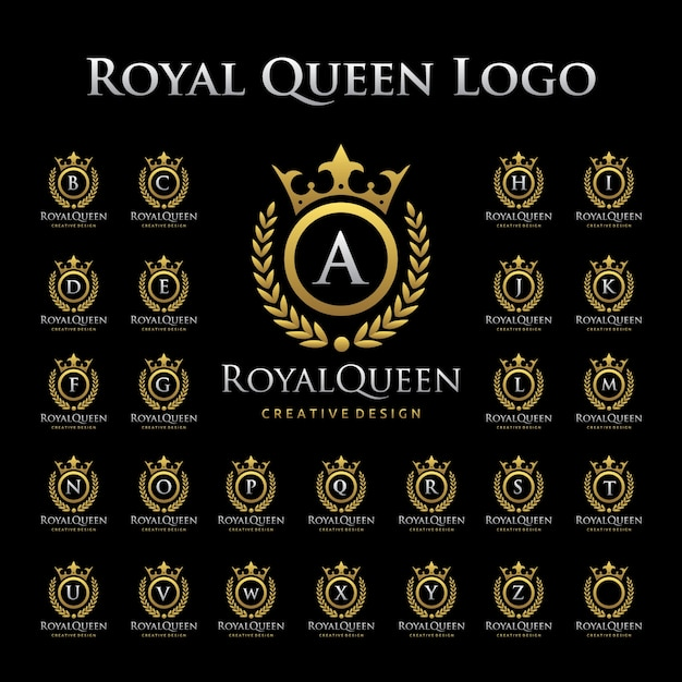 Royal queen logo in alphabetic set Premium Vector