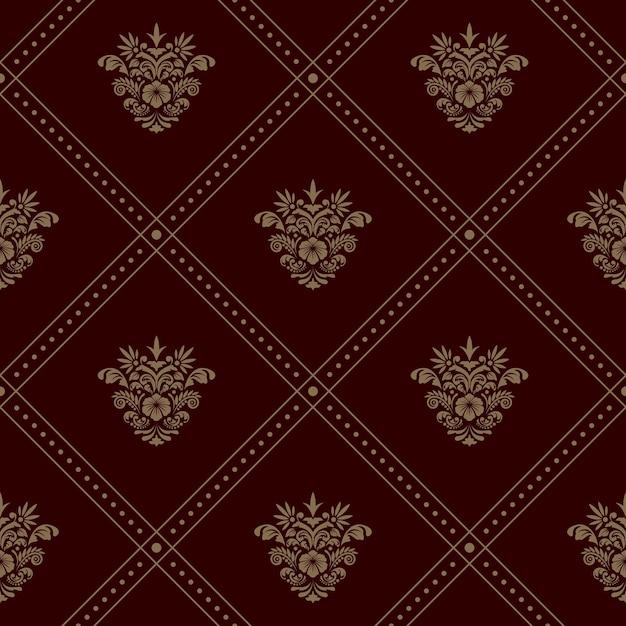 ロイヤルシームレス壁紙パターン。花の要素とベクトルの背景 無料ベクター