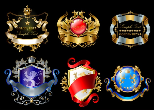Royal stickers with crowns, shields, ribbons, lions, stars isolated on black background Free Vector