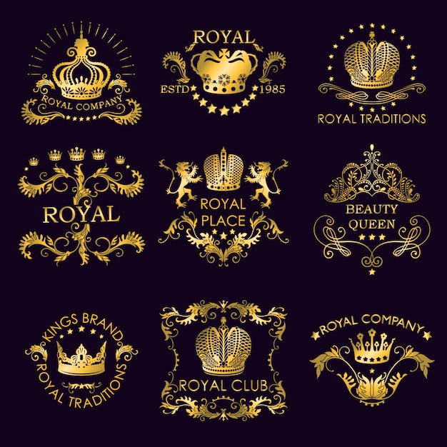 Королевские традиции золотые логотипы Бесплатные векторы