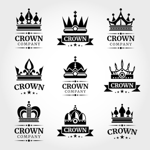 Royal vector crown logo templates set Premium Vector