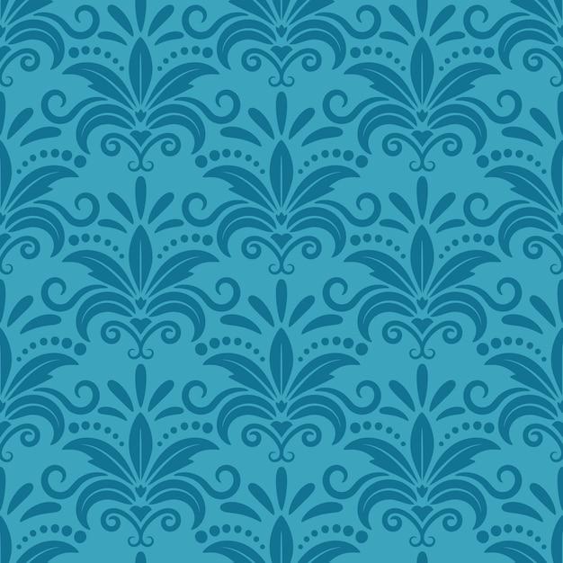 Королевские обои с дамасской бесшовные цветочный узор. декор текстиль, фактура темно-бирюзовая, декоративный шелковый узор. Бесплатные векторы