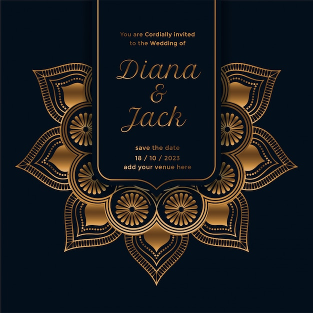 Royal wedding invitation template with mandala design Free Vector