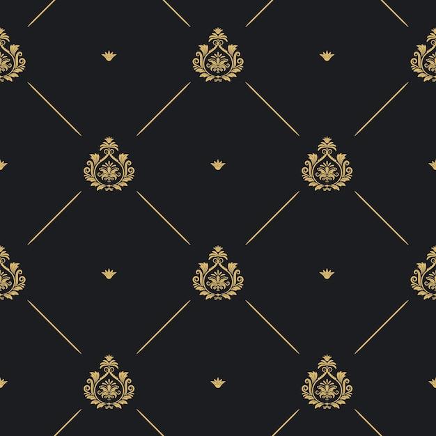 로얄 웨딩 패턴 원활한 배경, 선 및 검정, 벡터 일러스트 레이 션에 황금 요소 무료 벡터