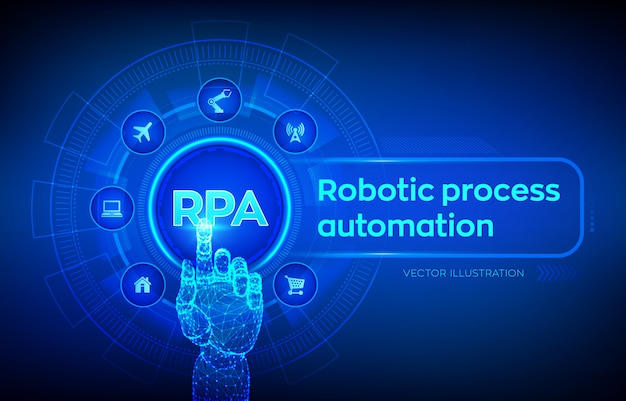 Rpa. robotic process automation innovation technology concept on virtual screen. robotic hand touching digital interface. Premium Vector