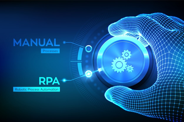 Rpa robotic process automation innovation technology concept Premium Vector